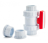 "True double union ball valves (slip and thread included) - 1"" (White)"